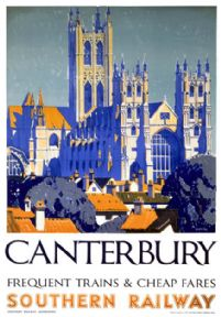 Canterbury Cathedral, Kent. Vintage Southern Railway Travel Poster by Griffin. 1937